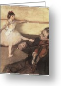 Portriat Greeting Cards - Portrait of a Dancer at her Lesson Greeting Card by Edgar Degas