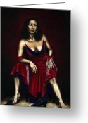 Red Dress Painting Greeting Cards - Portrait of a Dancer Greeting Card by Richard Young