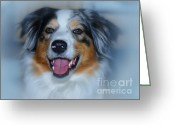 Postwork Greeting Cards - Portrait of a Dog Lady Greeting Card by Jutta Maria Pusl