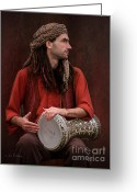 Dreadlocks Greeting Cards - Portrait of a drummer Greeting Card by Jan Pudney