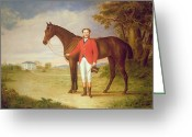 Gent Greeting Cards - Portrait of a gentleman with his horse Greeting Card by English School