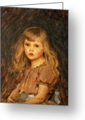 Kid Painting Greeting Cards - Portrait of a Girl Greeting Card by John William Waterhouse