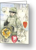 Wolves Mixed Media Greeting Cards - Portrait of a Hero Greeting Card by Morgan Fitzsimons