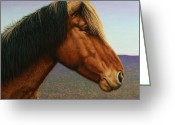 Stallion Greeting Cards - Portrait of a Horse Greeting Card by James W Johnson