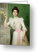 Sash Greeting Cards - Portrait of a lady holding a fan Greeting Card by Jules-Charles Aviat