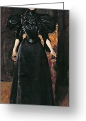 Black Widow Greeting Cards - Portrait of a Lady in Black Greeting Card by William Merritt Chase