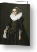 Cuffs Greeting Cards - Portrait of a Lady Greeting Card by Nicolaes Eliasz