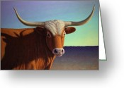 Texan Greeting Cards - Portrait of a Longhorn Greeting Card by James W Johnson