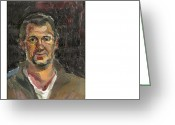 Esquisse Greeting Cards - Portrait Of A Man Esquisse Greeting Card by Marto Marini