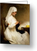 Necklace Greeting Cards - Portrait of a Nurse from the Red Cross Greeting Card by Gabriel Emile Niscolet