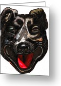 Jump Drawings Greeting Cards - Portrait Of A Pooch Greeting Card by Al Goldfarb