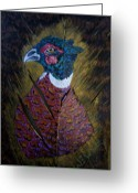 Wildlife Sculpture Greeting Cards - Portrait of a Ringneck Greeting Card by Chris Newell