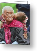 Peoples Greeting Cards - Portrait Of A Senior Bhutanese Man Greeting Card by James L. Stanfield