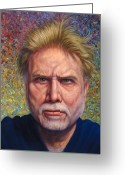 Eyes Greeting Cards - Portrait of a Serious Artist Greeting Card by James W Johnson