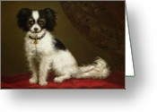 Small Greeting Cards - Portrait of a Spaniel Greeting Card by Anonymous