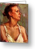 Quite Greeting Cards - Portrait of a Stern and Distanced Hardworking Woman in Light Summer Dress with Deep Shadows Dramatic Greeting Card by M Zimmerman MendyZ