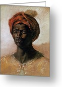 Turban Greeting Cards - Portrait of a Turk in a Turban Greeting Card by Ferdinand Victor Eugene Delacroix