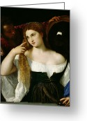 Cleavage Greeting Cards - Portrait of a Woman at her Toilet Greeting Card by Titian