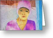 1920s Portraits Greeting Cards - Portrait of a Woman on a Downtown Wall Greeting Card by Louis Nugent
