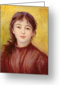 Femme Painting Greeting Cards - Portrait of a Woman Greeting Card by Pierre Auguste Renoir