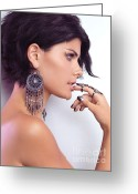 Earrings Photo Greeting Cards - Portrait of a Woman Wearing Jewellery Greeting Card by Oleksiy Maksymenko