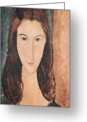 Modigliani Painting Greeting Cards - Portrait of a Young Girl Greeting Card by Amedeo Modigliani