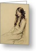 Hair Drawing Greeting Cards - Portrait of a Young Girl Greeting Card by Frederick Pegram