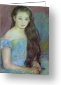 Pierre Renoir Greeting Cards - Portrait of a Young Girl with Blue Eyes Greeting Card by Pierre Auguste Renoir