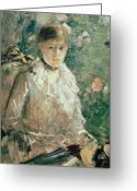 Young Lady Greeting Cards - Portrait of a Young Lady Greeting Card by Berthe Morisot