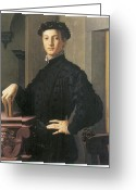Young Man Greeting Cards - Portrait of a Young Man Greeting Card by Agnolo Bronzino