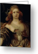 Cleavage Greeting Cards - Portrait of a Young Woman  Greeting Card by Girolamo Forabosco