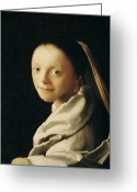 Femme Painting Greeting Cards - Portrait of a Young Woman Greeting Card by Jan Vermeer