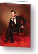 Chin On Hand Greeting Cards - Portrait of Abraham Lincoln Greeting Card by George Peter Alexander Healy