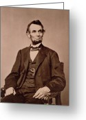 Male Portraits Greeting Cards - Portrait of Abraham Lincoln Greeting Card by Mathew Brady