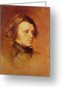Handsome Greeting Cards - Portrait of Alfred Lord Tennyson Greeting Card by Samuel Laurence