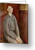 Modigliani Painting Greeting Cards - Portrait of Annie Bjarne Greeting Card by Amedeo Modigliani