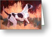 Hunting Dogs Greeting Cards - Portrait of Atticus Greeting Card by Susan F Greaves