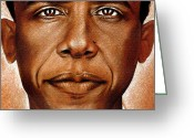 Barack Drawings Greeting Cards - Portrait of Barack Obama Greeting Card by Martin Velebil