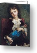Little Girl Greeting Cards - Portrait of Catherine du Bouchage Greeting Card by Antoine Auguste Ernest Hebert