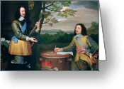 Head Of State Greeting Cards - Portrait of Charles I and Sir Edward Walker Greeting Card by English School
