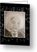 Albert Drawings Greeting Cards - Portrait of Einstein Greeting Card by Oscar Arauz