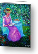 New Britain Painting Greeting Cards - Portrait of Ellsabeth in her Garden Greeting Card by Glenna McRae
