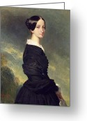 Black Widow Painting Greeting Cards - Portrait of Francisca Caroline de Braganca Greeting Card by Franz Xaver Winterhalter