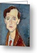 Modigliani Painting Greeting Cards - Portrait of Franz Hellens Greeting Card by Modigliani