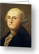 Founding Fathers Painting Greeting Cards - Portrait of George Washington Greeting Card by Gilbert Stuart