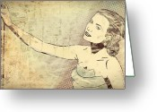 Princess Grace Greeting Cards - Portrait of Grace Kelly Greeting Card by Marie-Pier Larocque