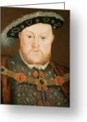 Head Of State Greeting Cards - Portrait of Henry VIII Greeting Card by English School