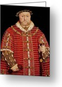 Viii Greeting Cards - Portrait of Henry VIII Greeting Card by Hans Holbein the Younger