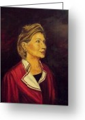 Hillary Clinton Greeting Cards - PORTRAIT of HILLARY CLINTON Greeting Card by Ricardo Santos-alfonso