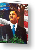 President Obama Greeting Cards - Portrait of Hope Greeting Card by Susan M Woods